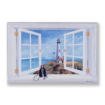 Window Wall Art pigeon point lighthouse window scene wall art