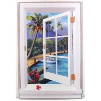 tropical beach window scene wall art. Black Bedroom Furniture Sets. Home Design Ideas