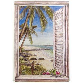 Window Wall Art driftwood beach window wall art