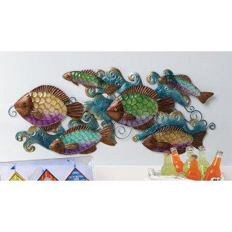 School of fish glass wall decor for School of fish metal wall art