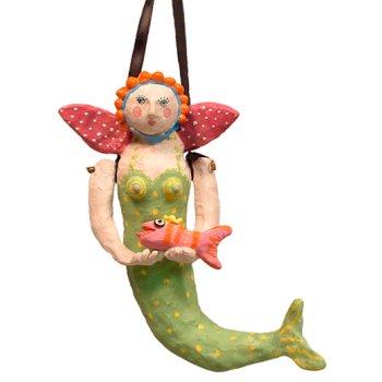 Mermaid Holding Fish Hanging Sculpture