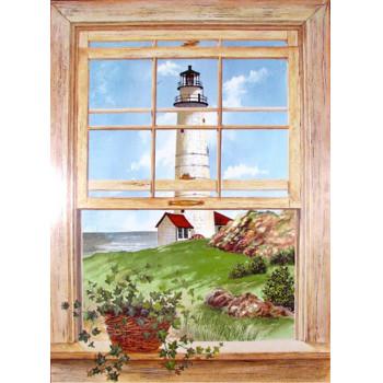 Lighthouse Window Scene Wall Art