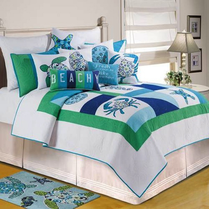 49 Beautiful Beach And Sea Themed Bedroom Designs: Meridian Waters Quilt