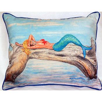 Mermaid On Log Indoor Outdoor Pillow