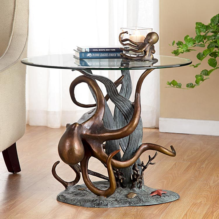 Elegant Octopus And Seagrass End Table