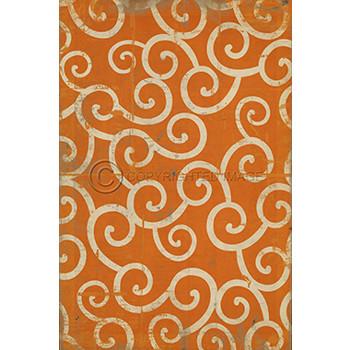 Orange Swirl Pattern Vinyl Floor Cloth