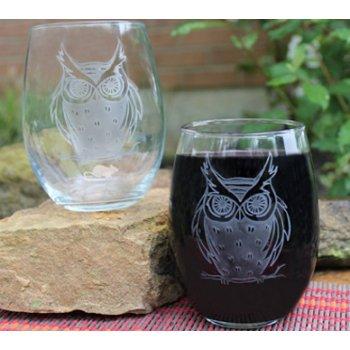 Beach Owl Wine Tumblers set of 2