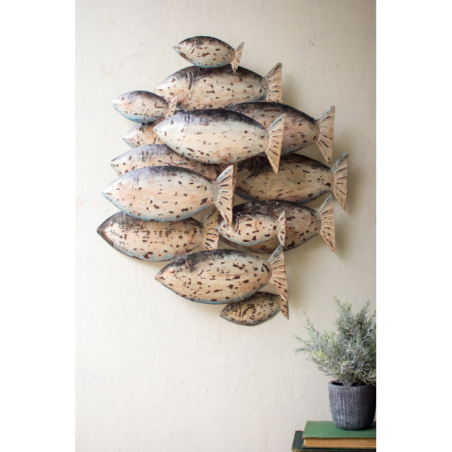 Painted recycled metal school of fish wall decor for School of fish metal wall art