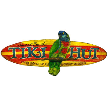 Tiki Hut Personalized Beach Sign