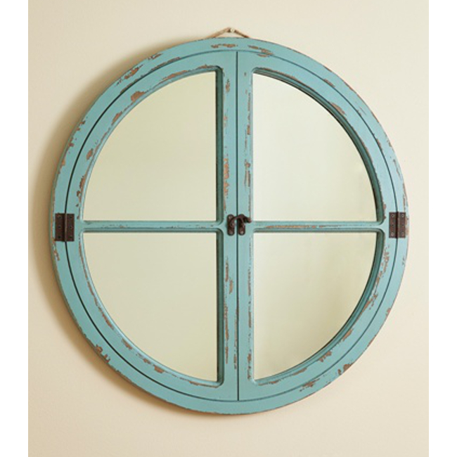 Distressed Wood Window Sea Mirror