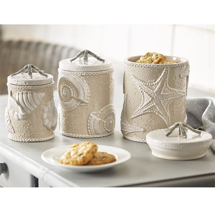 Sand nautilus canister set for Decoration accessoire