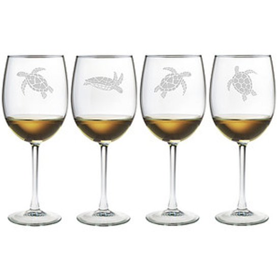 Sea Turtle Stemmed Wine Glass Assortment S/4