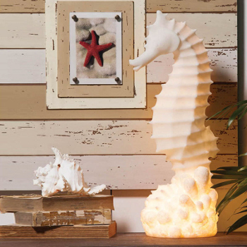 White Embossed  Seahorse Lamp