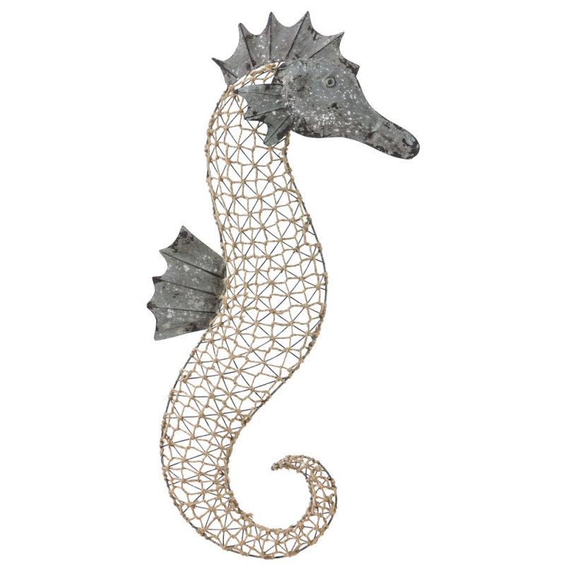 metal and woven sea horse wall decor. Black Bedroom Furniture Sets. Home Design Ideas