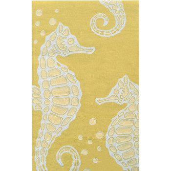 High Quality Seahorse Area Rug Yellow/White