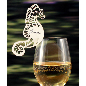 Laser Seahorse Place Card Set Of 24