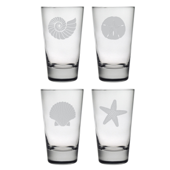 Seashore Etched Hi-Ball Glass Mixed Set of 4