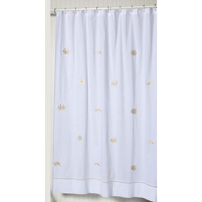 SeaLife Beige Embroidered Shower Curtain