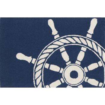 Ship Wheel Navy Indoor Outdoor Rug