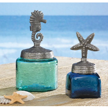 Starfish and sea horse glass jars for Sea bathroom accessories