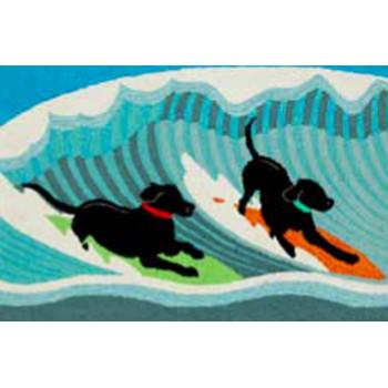 Surfing Dogs Ocean Indoor Outdoor Rug