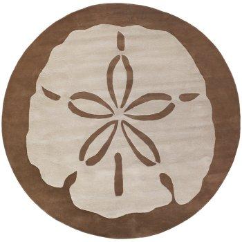 sanddollar ft round rug, 5' round nautical rugs, large round nautical rugs, nautical round outdoor rugs