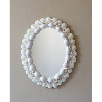 White Oval Seashell Mirror