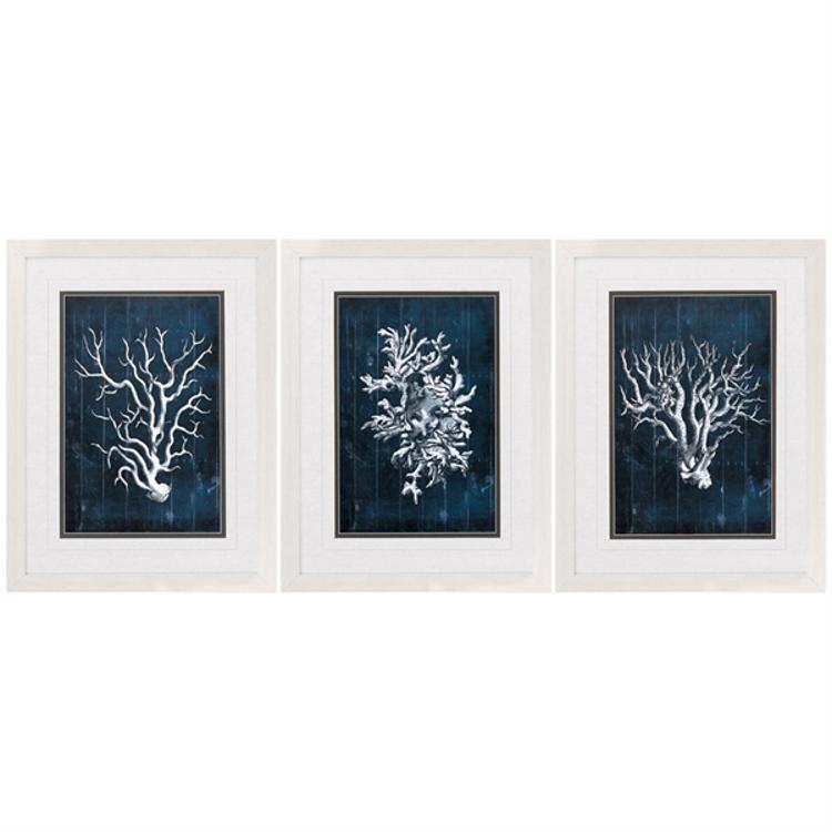 wood coral blue framed art set of 3. Black Bedroom Furniture Sets. Home Design Ideas