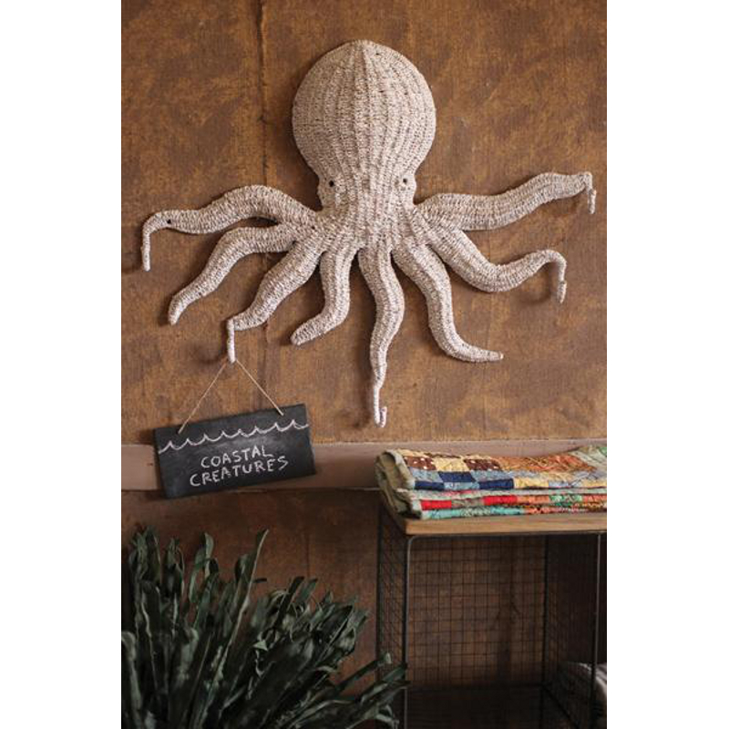 Wicker Octopus Wall Hanging With 5 Hooks