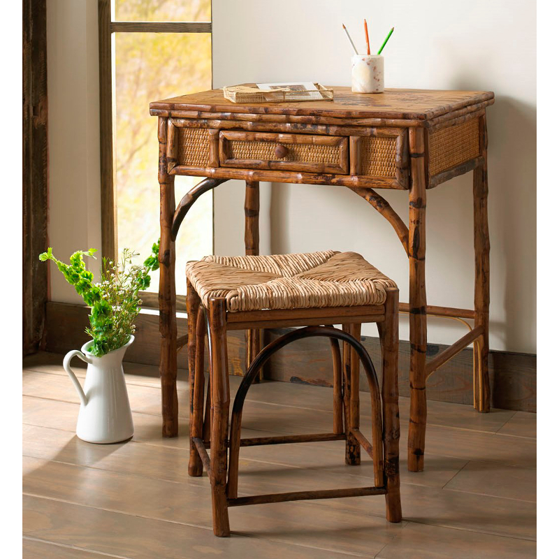 Coastal Bamboo Writing Desk And Stool Set