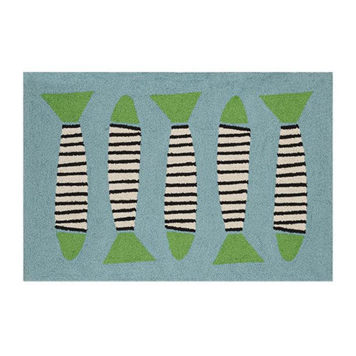 Zebra Fish Turquoise Coast Hook Rug