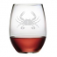 Crab Etched Stemless Wine Glass Set