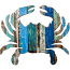 Crab Wooden Plaque in Coastal Colors