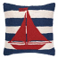 Red Sailboat On Blue Stripe Hook Pillow