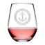 Custom Coordinates Anchor Acrylic Stemless Wine Glasses S/4