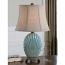 Seashell Lamp with Crackled Blue Glaze Finish