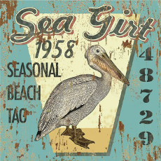 Sea Girt Beach Tag Wood Art 12x12