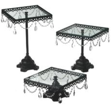 Jeweled Black Square  Cake Stand Set of 3