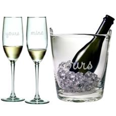 Yours, Mine, Ours Ice Bucket & Champagne Glasses (3 Piece Set)
