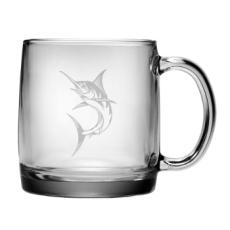 Marlin Coffee Mug, 13oz.  Etched Glass Coffee Mug Set