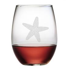 Starfish Stemless, 15Oz., Etched Glass Set