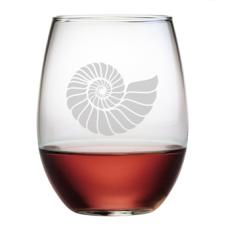 Nautilus Shell, Stemless glass, 15oz.,  S/4