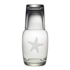 Starfish Etched Bedside Carafe And Glass Set