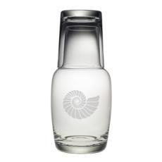 Nautilus Shell Night Bottle Set, 2 pc set Bedside Carafe and Glass Set