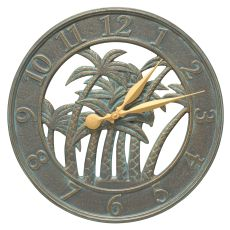 "18"" Palm Wall Clock Indoor Outdoor, Bronze Verdigris"