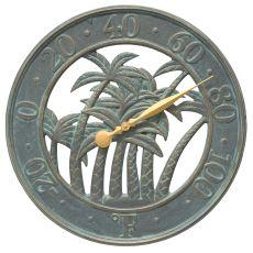 "18"" Palm Wall Thermometer Indoor Outdoor, Bronze Verdigris"