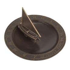 Sailboat Sundial Birdbath, French Bronze