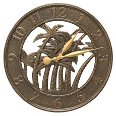 "18"" Palm Wall Clock Indoor Outdoor, French Bronze"