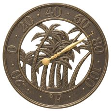 """18"""" Palm Wall Thermometer Indoor Outdoor, French Bronze"""