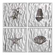 Uttermost Low Tide Antiqued Silver Wall Art S/4